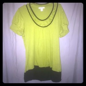 Lime green and black long short sleeve tunic top